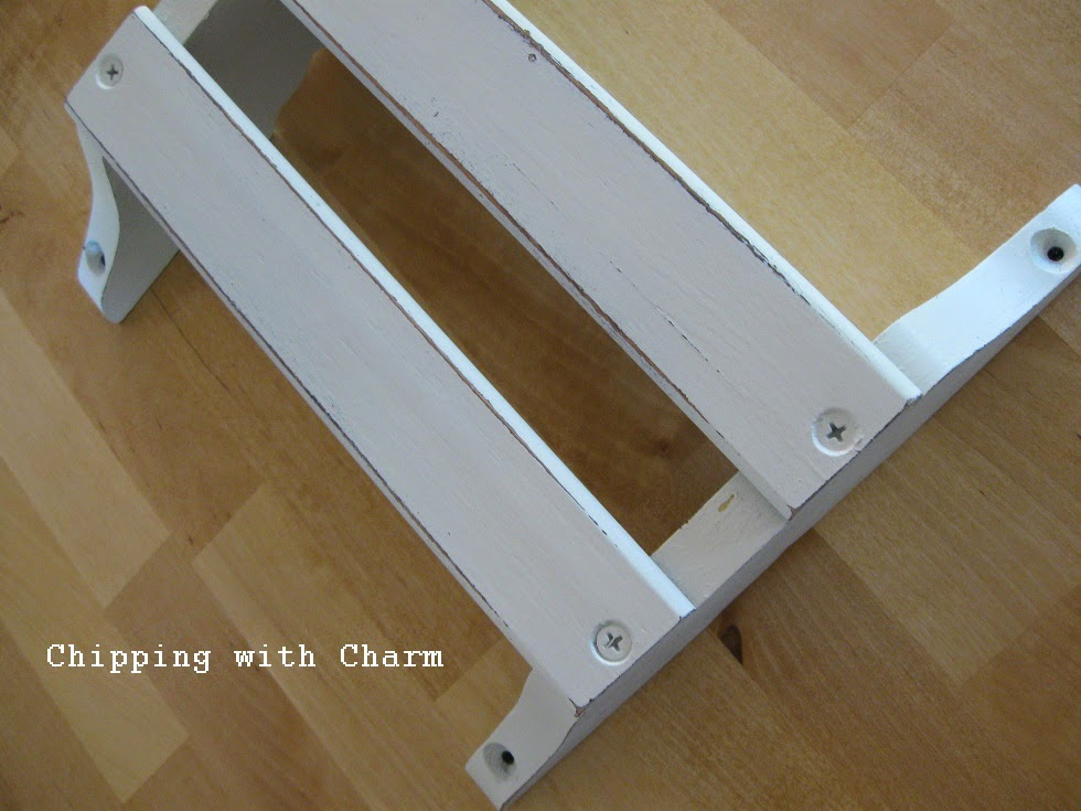 Chipping with Charm: Pew Rack Napkin Holder...http://chippingwithcharm.blogspot.com/