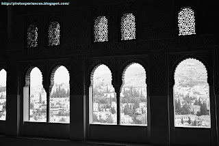 Vistas de Granada desde el Cuarto Dorado. View of Granada from the Golden Hall. Alhambra. Granada. Spain.