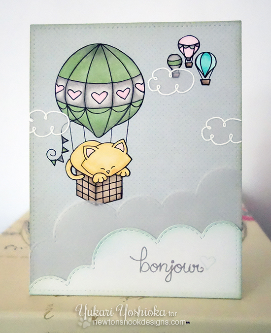 French Kitty in Hot Air Balloon |  Card by Yukari Yoshioka | Newton's Nook Designs | Newton Dreams of Paris Stamp Set