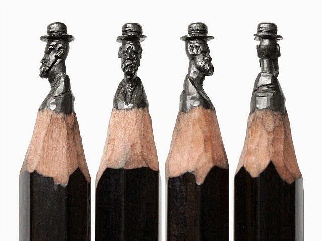 Detalladas esculturas en miniatura tallados en el grafito de las puntas de lapices