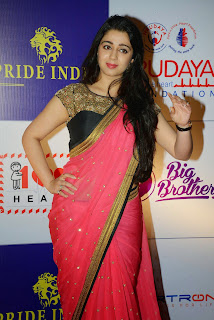 Actress Charmy Kaur Latest Pictures in Pink Saree at CCL Charity Dinner  42