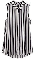 Black White Vertical Stripe Sleeveless Chiffon Blouse