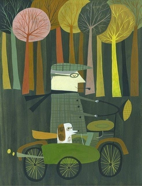 illustration by Matte Stephens of a man with his dog in the sidecar