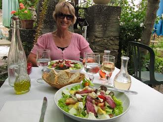 Sandra about to enjoy dejeuner; Villes des Auzon