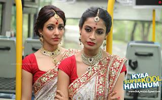 Neha Sharma, Sarah-Jane Dias in Bengali Saree High Definition Kyaa Super Kool Hain Hum  Wallpaper