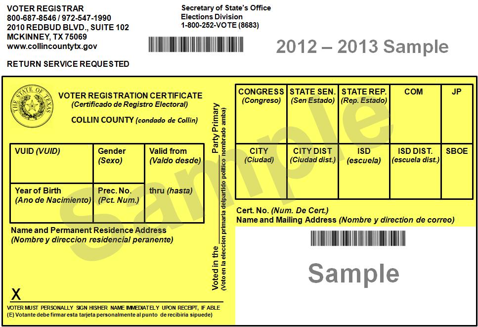 Democratic Blog News: Your Voter Registration Card