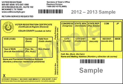 Sample Registration Card for Collin Co., TX