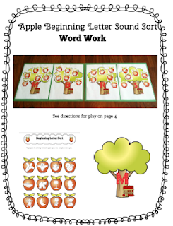 word work, beginning letter sounds