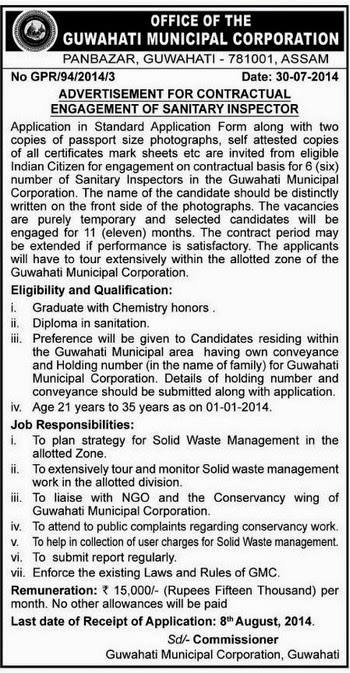 Sanitary Inspector Jobs In Gmc Guwahati August 2014