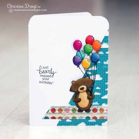 Winston's Birthday Bear Card by Christine Drogt for Newton's Nook Designs