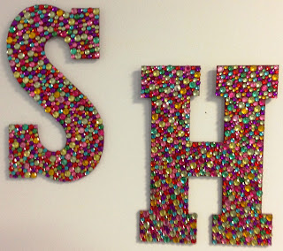 Delectably skinny crafty ideas bejeweled letters for How to make creative things for your room