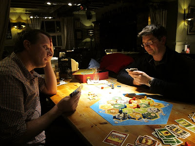 Settlers of Catan - Martin trying to negotiate with Robin