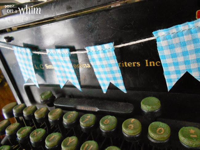 Turquoise Valentine Bunting on a Vintage Typewriter from Denise on a Whim