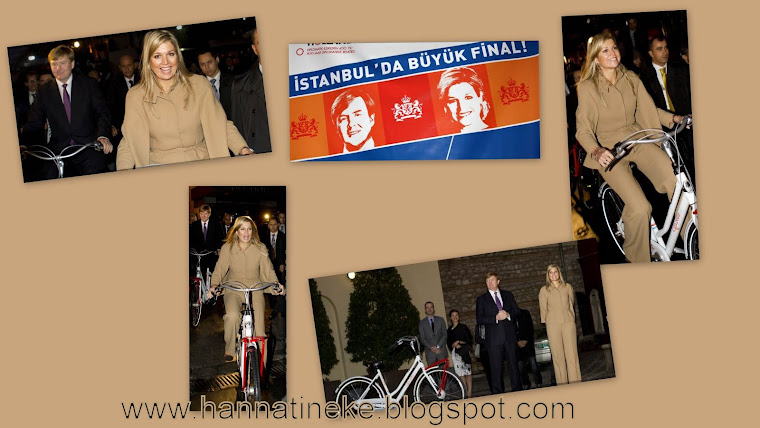 Istanbul Prinses Maxima en Prins Willem-Alexander fietsen over de Istiklal Caddessi in Turkije,
