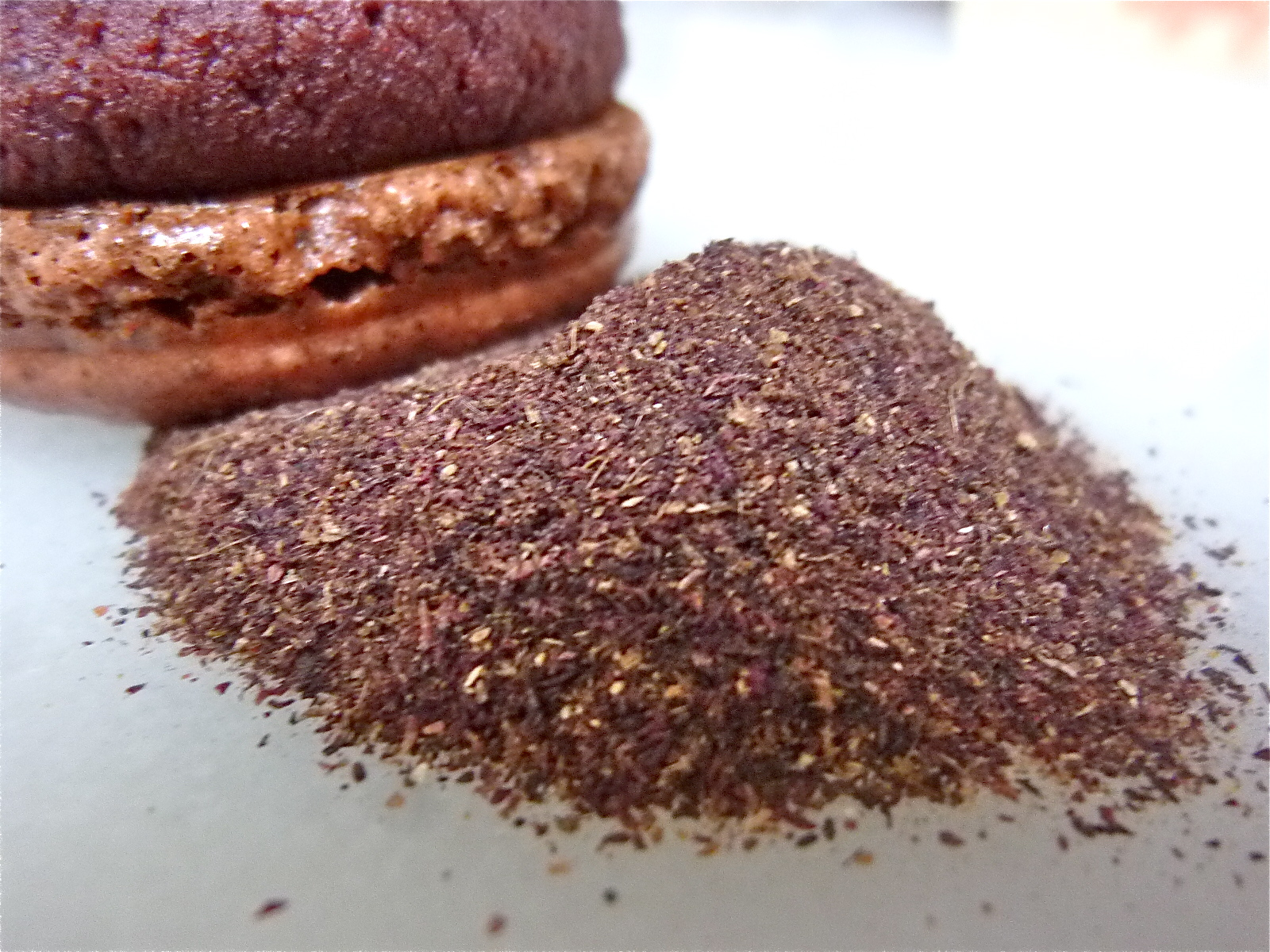 Hibiscus flower macarons with red velvet nutella filling diary of hibiscus powder and a touch of food coloring were added to the shells i quickly learned adding too much powder can result can in a gritty aftertaste izmirmasajfo