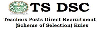 TS DSC,Teachers Posts, Recruitment Rules 2016