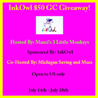 Enter the InkOwl $50 GC Giveaway. Ends 7/28