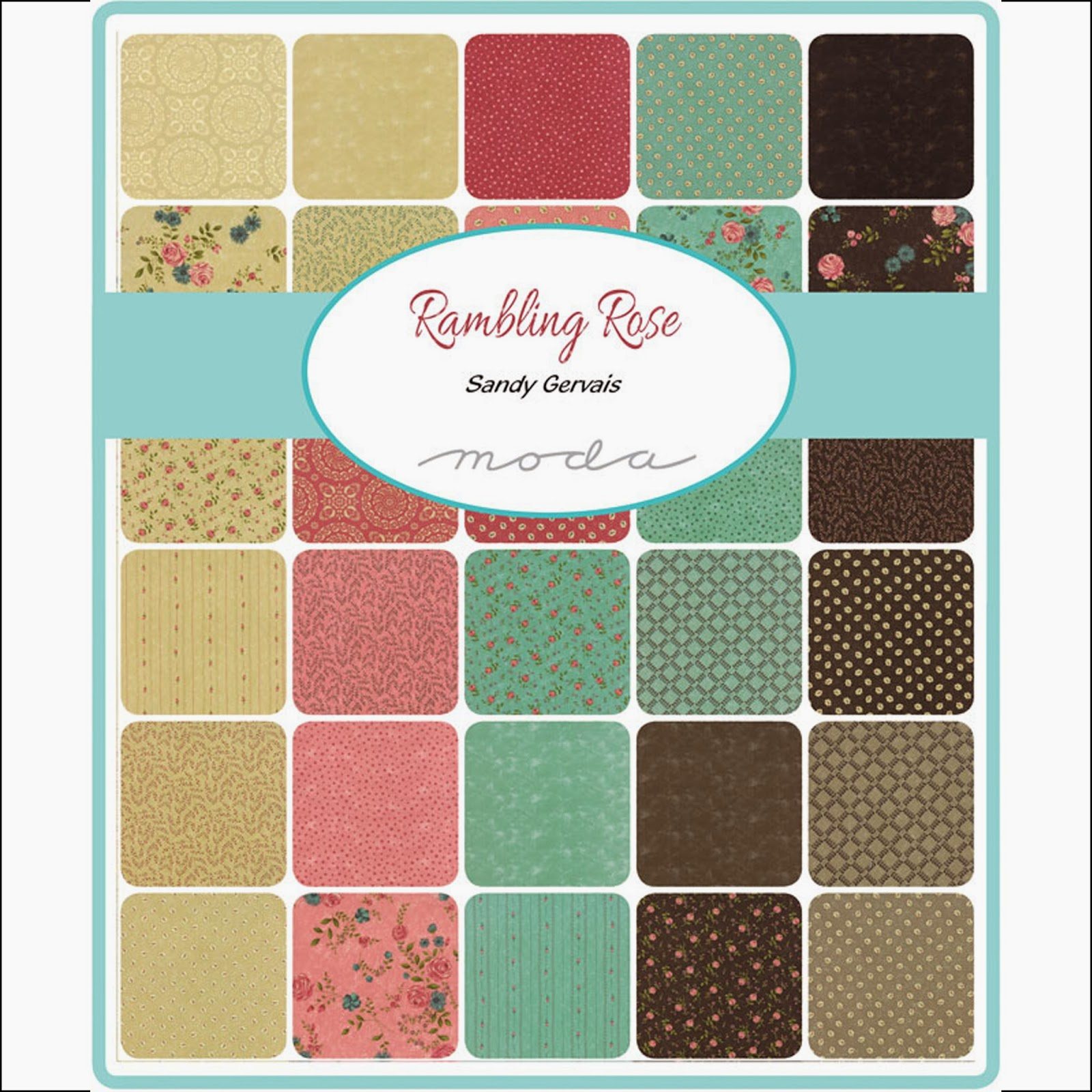 Moda RAMBLING ROSE Quilt Fabric by Sandy Gervais for Moda Fabrics