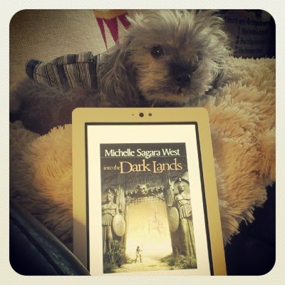 Murchie lays atop a sheep-shaped pillow. He wears a blue and white striped tank top. Before him sits an upright white e-reader with Into the Dark Lands's cover on its screen. The cover depicts a tiny figure passing through a massive stone gate flanked by statues of toga-clad warriors.