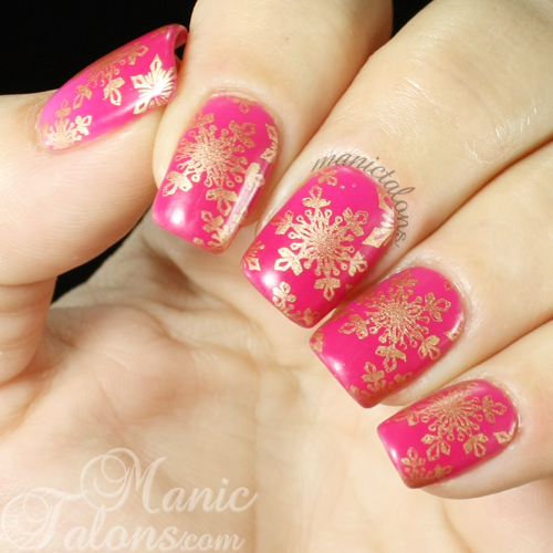 BMC Gel Polish Raspberry Rush with Snowflakes Cold