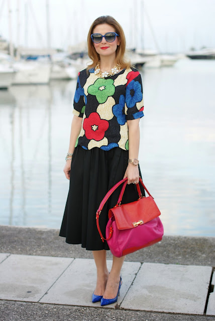 floral print cropped blouse, zara midi skirt, Le Silla shoes, Fashion and Cookies, fashion blogger