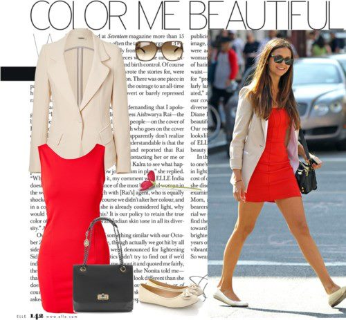 Blazer negro vestido rojo