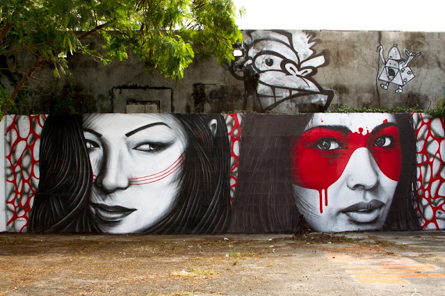 """""""Double Dutch"""" New Street Art Collaboration By Fin DAC and Angelina Christina in Miami. 1"""