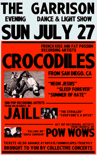 Crocodiles @ The Garrison, Sunday, 8 pm