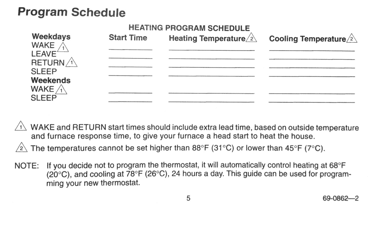 How To Program A Honeywell Thermostat Model T8112d1021 Share Your C27 User Manual Guide Books Review Blank Schedule