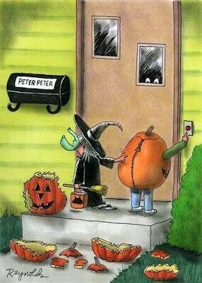 Hilarious Halloween Holiday Cartoon Image - Witch and Pumpkin at Peter Peter Pumpkin Eater's door