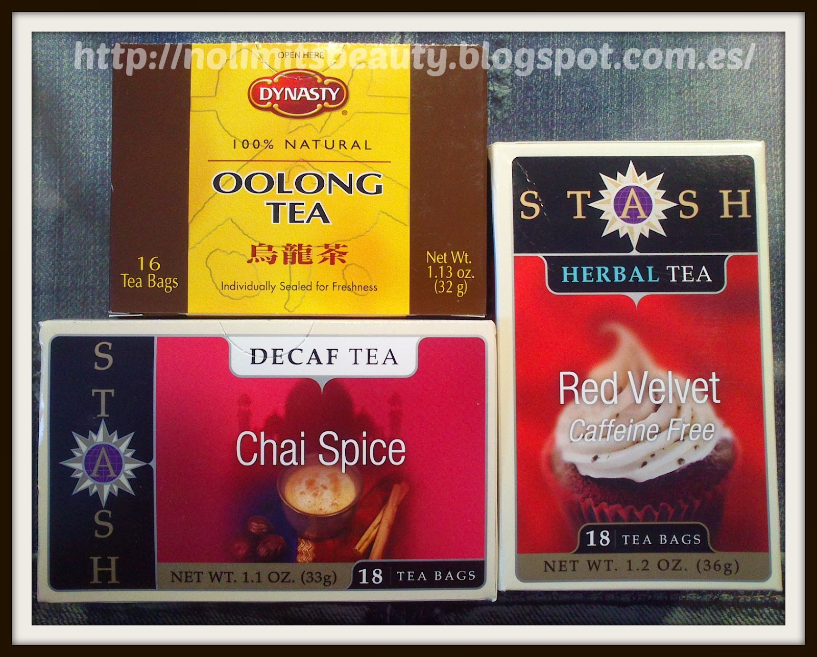 iHerb - Oolong Tea de DYNASTY - Chai Spice Decaf Tea y Red Velvet Tea de STASH