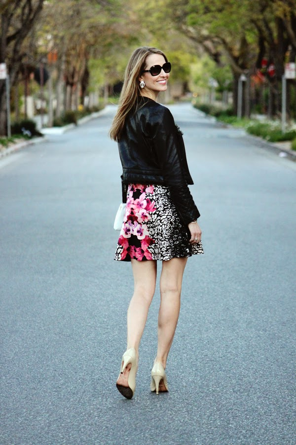 Floral dress + moto jacket + nude pumps