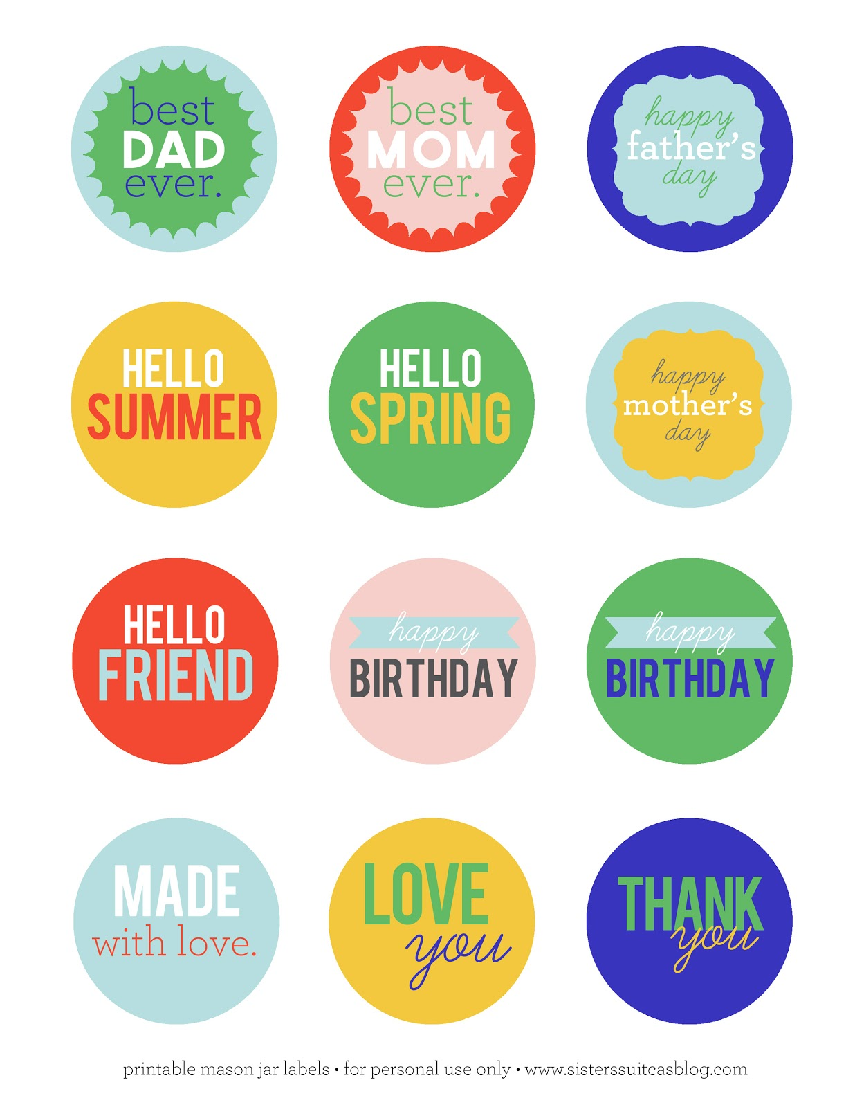 Mason Jar Tag Printables