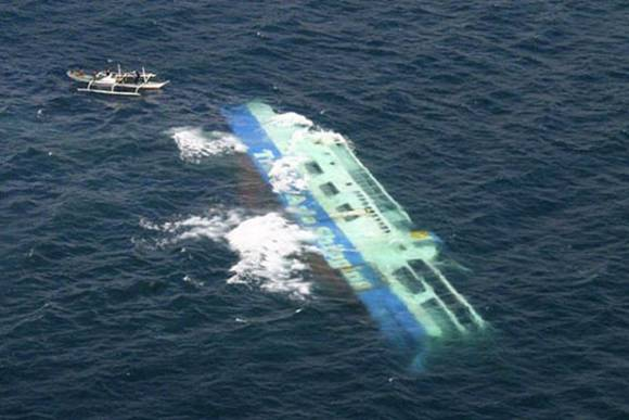 Aerial View of Sinking Ship