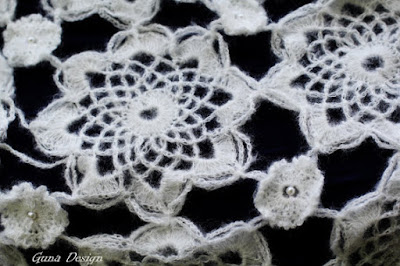 White crochet lace scarf guna design guna andersone close