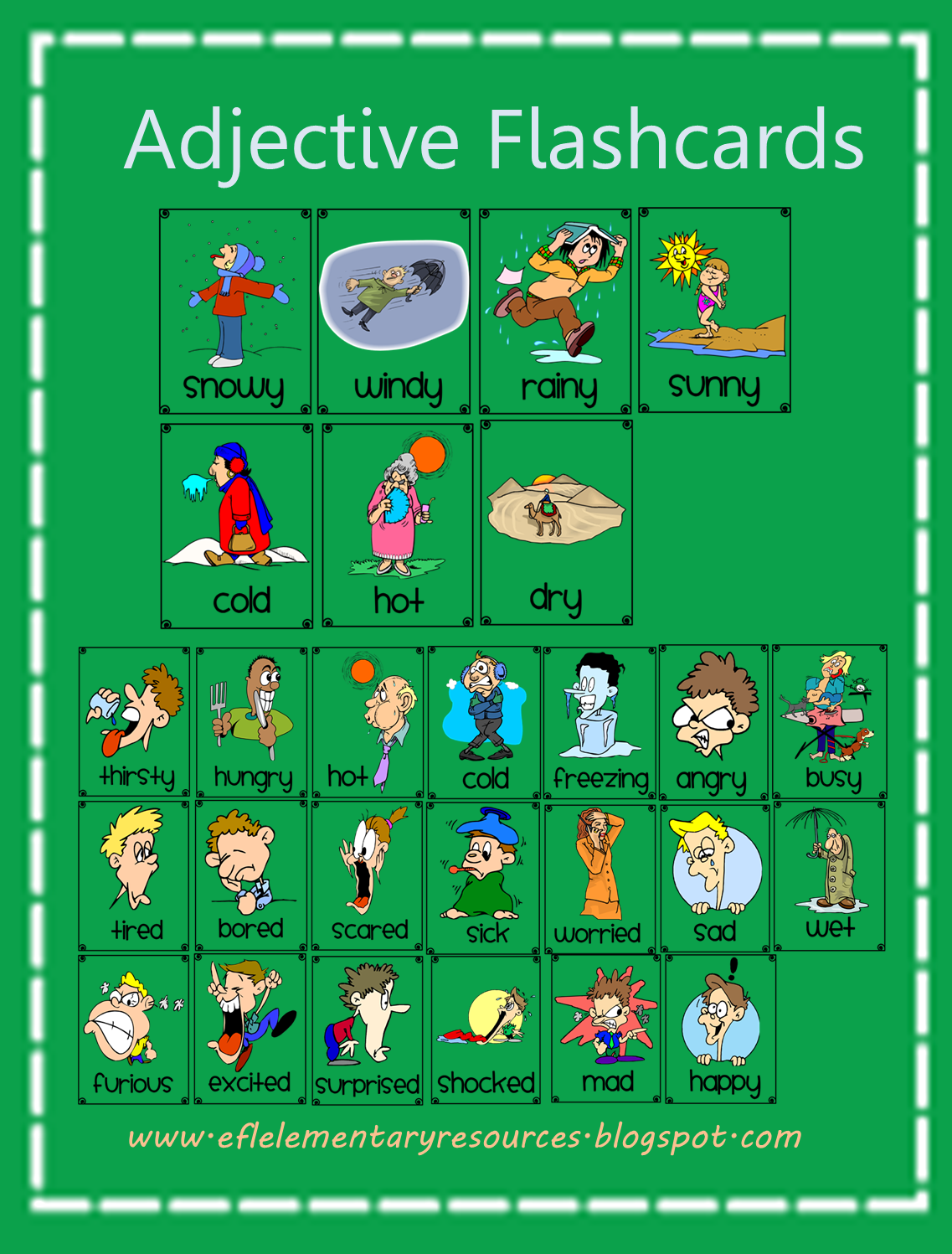 Worksheet Elementary Adjectives efl elementary teachers adjectives for ell another set of 43 free flashcards