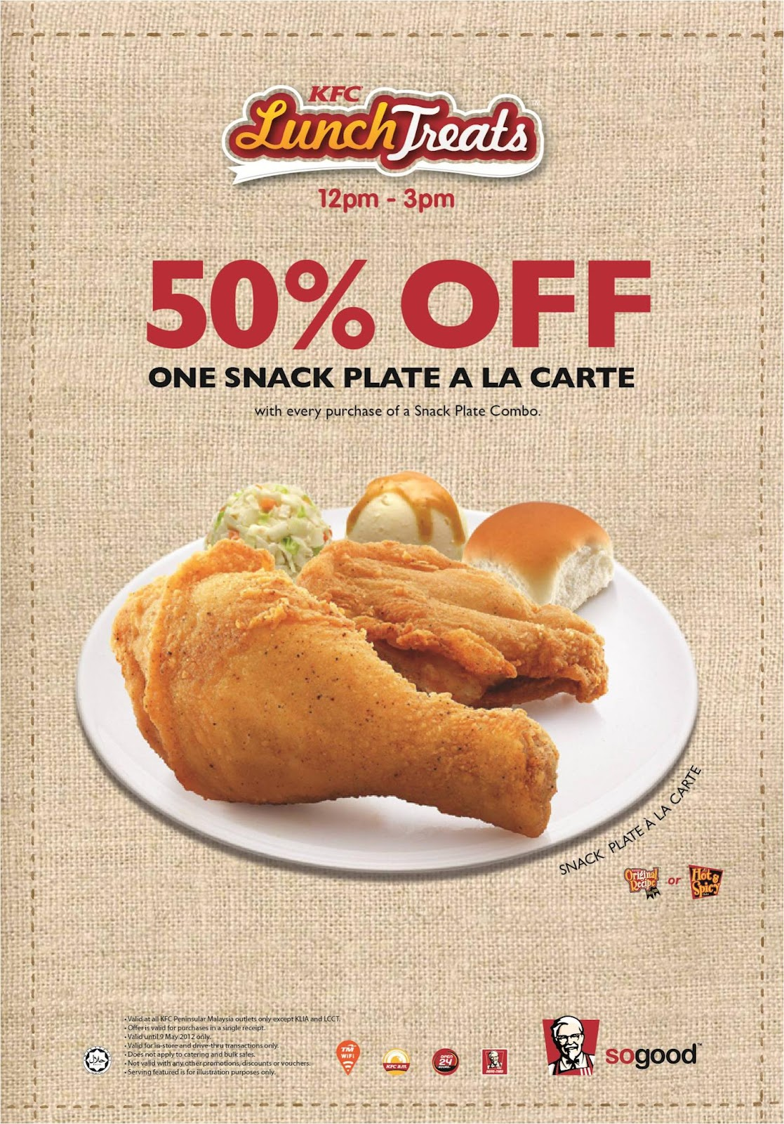 Checkout KFCu0027s 6pm - 9pm Dinner Plate @ Half Price promotion!  sc 1 st  Sales nonstop & KFC Promotion : Snack Plate a la carte @ Half Price | Sales nonstop