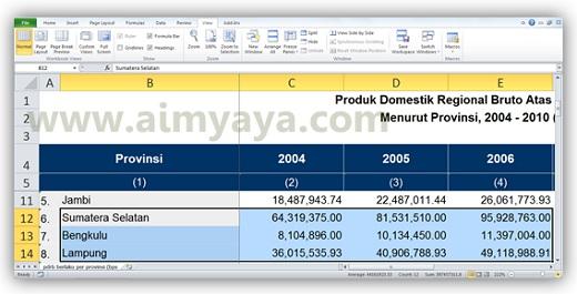 Gambar: Contoh tampilan yang diperbesar dengan zoom to selection di microsoft excel 2010