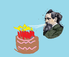 Dickens blowing out birthday candles