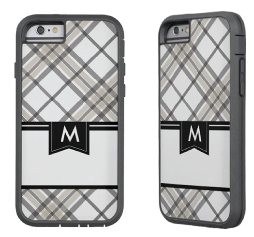 http://www.zazzle.com/tan_and_black_plaid_monogram_iphone_6_iphonecase-256252168874731496?rf=238845468403532898