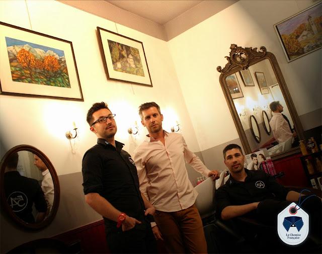 Richard préau, créateur de la Chemise Française, accompagné par les associés du Studio 54, avec Eddy, coiffeur visagiste et maquilleur à Montpellier.