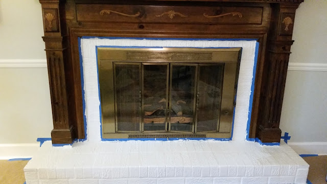 primed fireplace brick