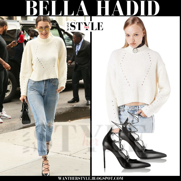 Bella Hadid in white knit cropped unif sweater, distressed jeans and black lace up saint laurent pumps what she wore models off duty