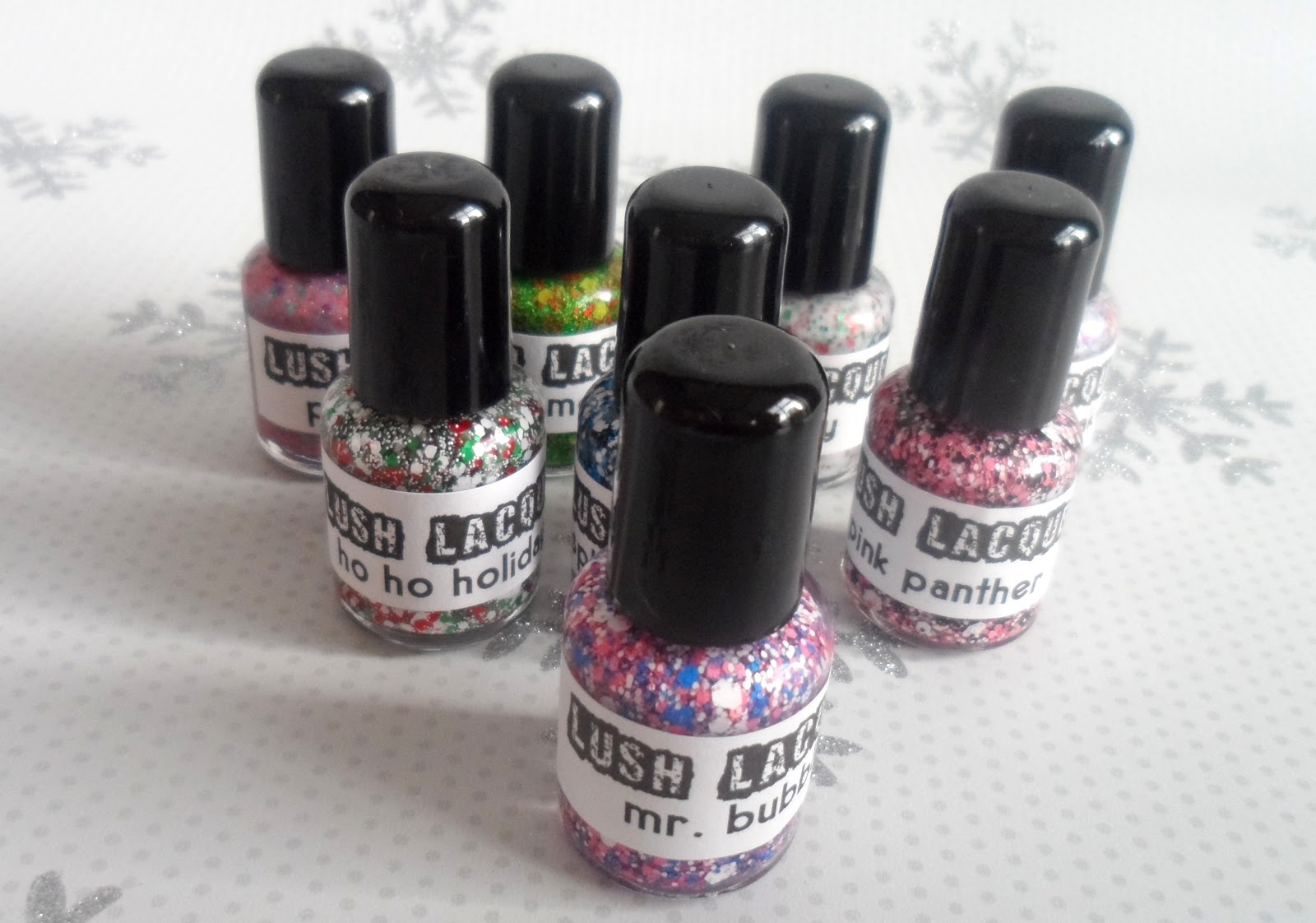 Glitter franken polish swatches from Lush Lacquer | flutter and sparkle