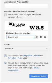 form pembuatan akun google