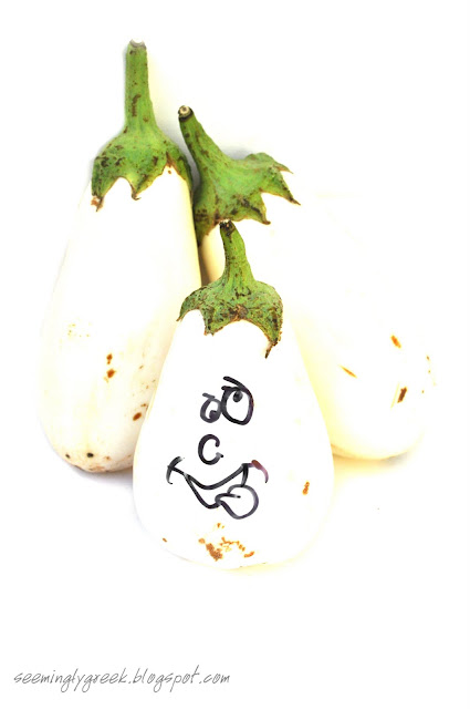white eggplant face White Eggplants and a return to Lesvos