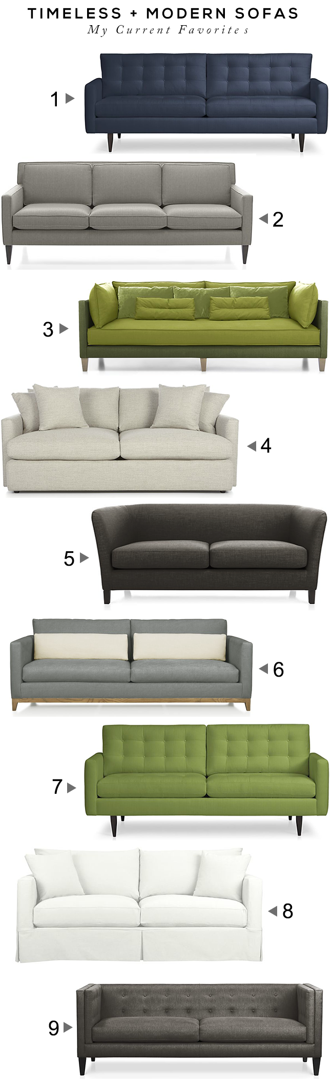 Modern + Timeless Sofas // Bubby and Bean