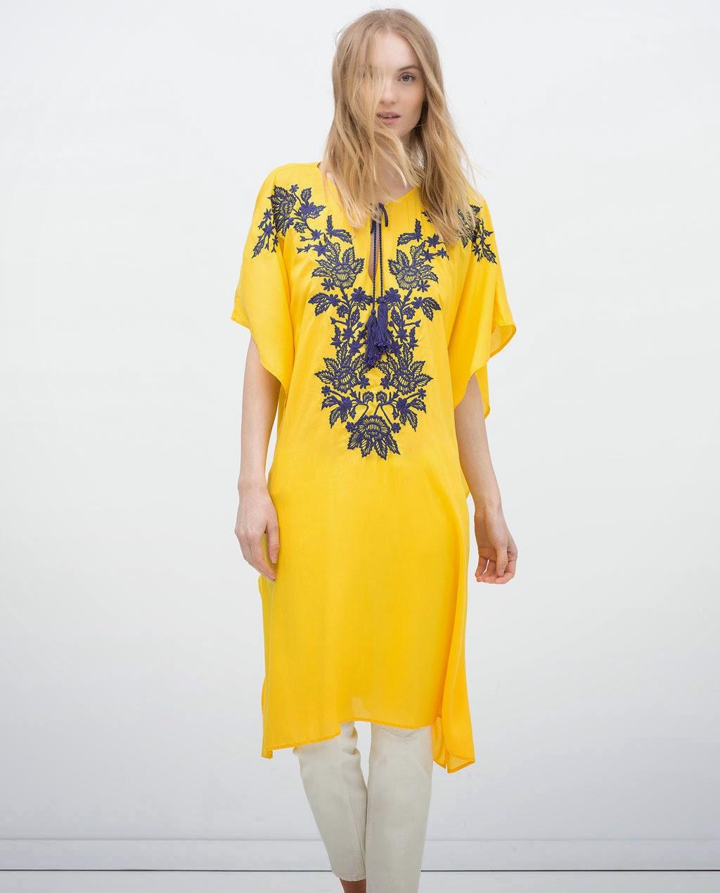 Zara - Cafetã amarelo comprido e skinny  brancas