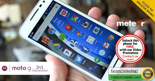 Factory Unlock Code Motorola Moto 3G from Meteor