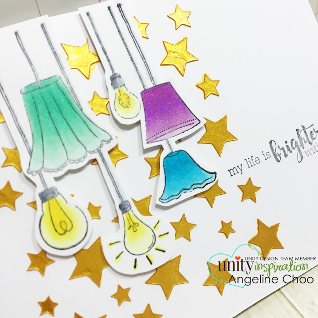 ScrappyScrappy: My life is brighter #scrappyscrappy #unitystampco #card #copic #heidiswapp #vivadecor #stencil
